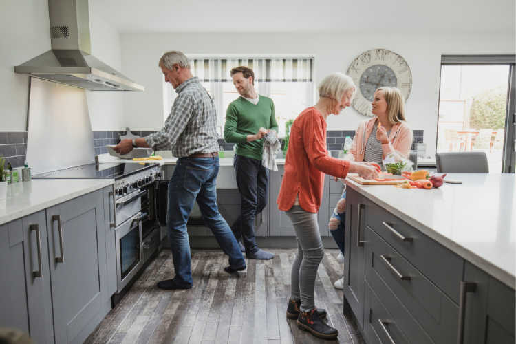 Family cooking kitchen - Multigenerational Vacations