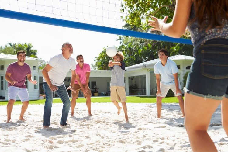 Family volleyball game-Multigenerational Vacations