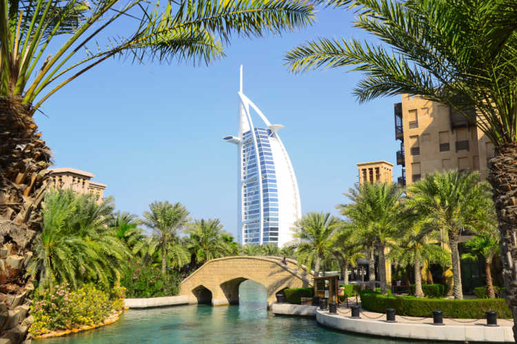 Burj Al Arab palm trees and canal