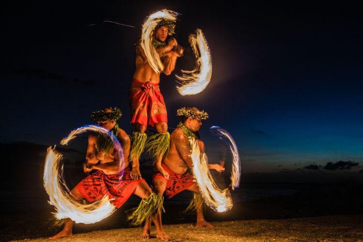 Hawaii fire dancers luau
