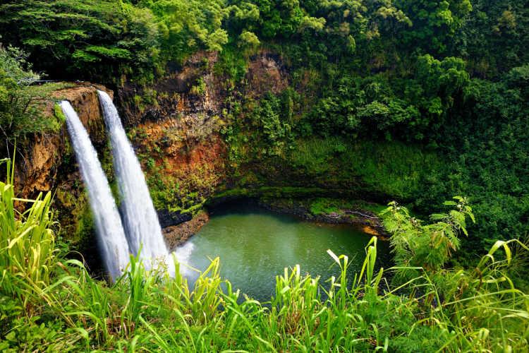 twin waterfalls on Kauai Hawaii