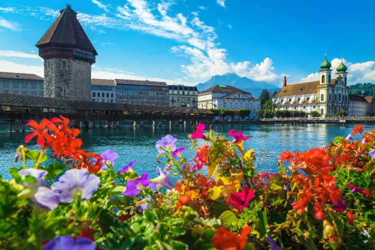 Lucerne Switzerland bridge with flowers