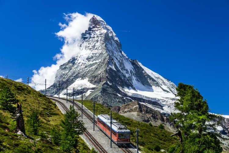 Matterhorn Switzerland with train