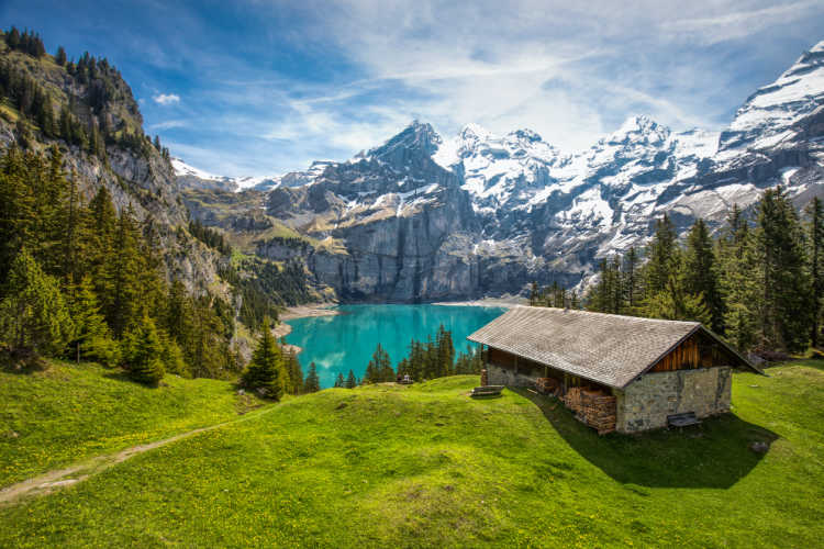 Oeschinnensee with waterfalls and mountains