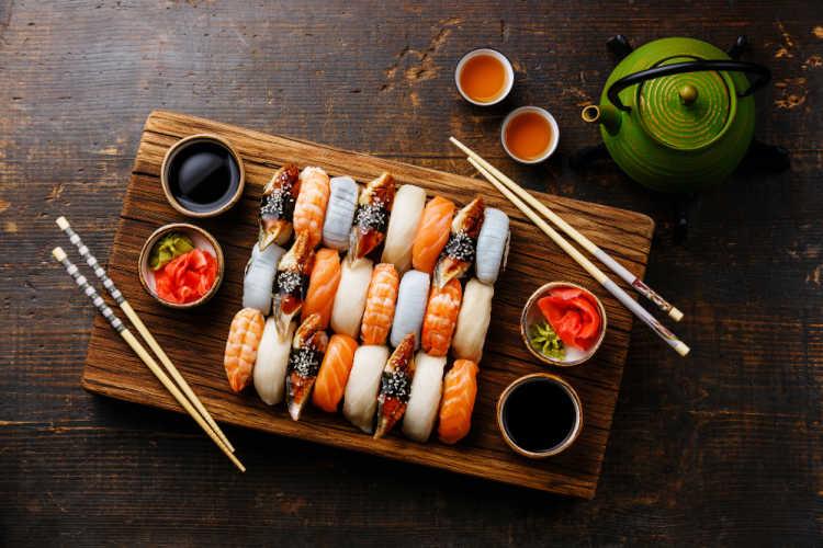 Sushi flat lay